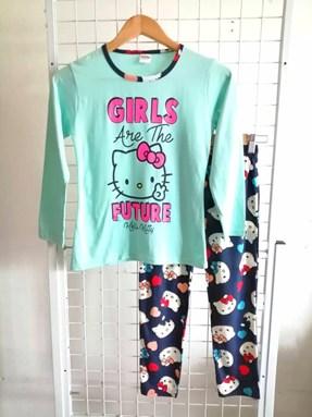 Pyjamas PLAIN HELLO KITTY GIRLS FUTURE Mint Green - Long Sleeve 1y-8y