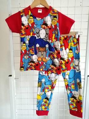 Pyjamas KAWS SESAME STREET Red (Brand HRZ) : Kids Size 2/3 hingga 8/9
