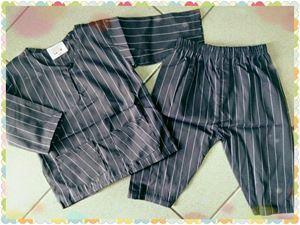 Baju Melayu Baby - Grey Stripe BM002