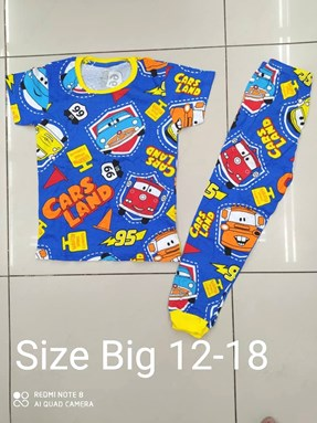Pyjamas CARS LAND BLUE :  BIG Size 12 -18