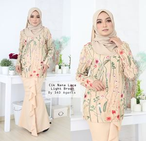 Kurung Cik Nana Lace Light Brown
