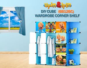 NEW Upin & Ipin BLUE 12C DIY Wardrobe with Corner Shelf (BB12BC)