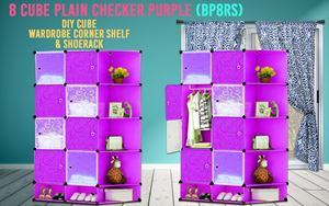 Plain Checker Purple 8C DIY Cube w Corner Rack & Shoerack (BP8RS)