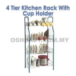 4 TIER KITCHEN RACK WITH CUP HOLDER