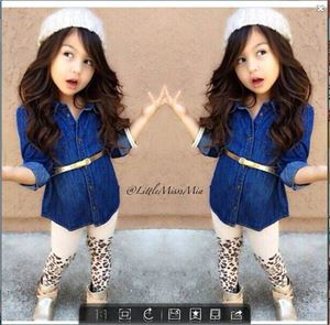 WS-SP2014-017 GIRL 3PCS JEAN TOP+LEGGING+BELT