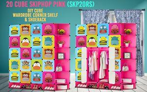 Skiphop Pink 20Cube DIY Cube w Corner Rack & Shoerack (SKP20RS)
