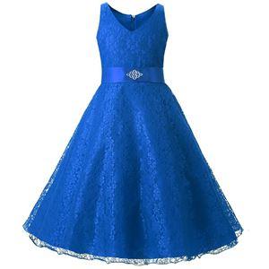 @  Girls Lace Princess Dress - BLUE  ( SZ 130-160 )