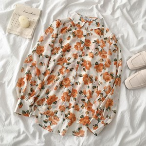 ORANGE ROSES PRINTS BUTTON UP SHIRT