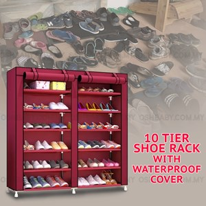 10 TIER SHOE RACK WITH WATER PROOF COVER