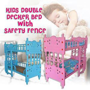 KIDS DOUBLE DECKER BED WITH SAFETY FENCE