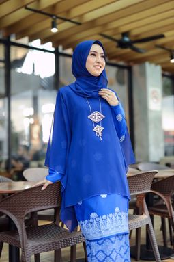 BAJU KURUNG QUEEN VIRAL ROYAL BLUE