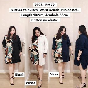 9908 Ready Stock  *Bust 44 to 52inch/ 112-132cm