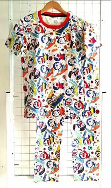 SIZE XL - 2XL DEWASA Pyjamas DORAEMON SPORTS WHITE  (MYSHA)