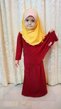 Kids Kurung Arrini (Merah) - S, XL, 2XL