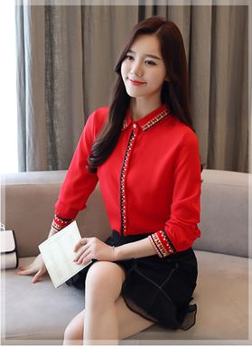 Long-sleeve Embroidery Shirt