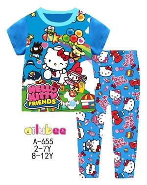 Big Size Blue Hello Kitty Short Sleeves Pyjamas