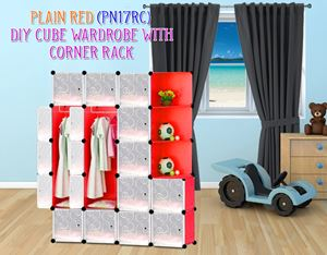 Plain Red 17C Diy Wardrobe With Corner Rack (PN17RC)