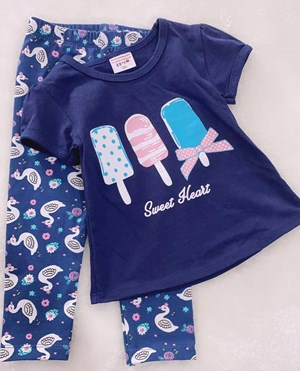 Girl Set Navy Sweet Heart With Duck Blue Pant (9/12m)