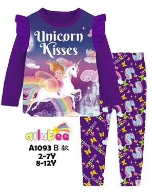 @  AILUBEE UNICORN KISSES SLEEPWEAR ( A1093-B ) SZ  2Y - 12Y