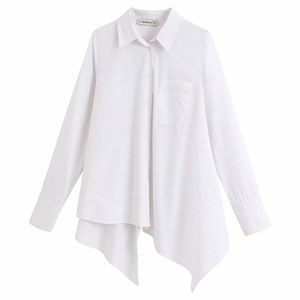White Cotton Single Pocket Irregular Shirt