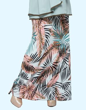 Adelia Skirt Printed : Mint Green Leaves