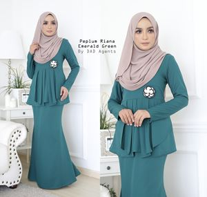 Peplum Riana Pleated Emerald Green