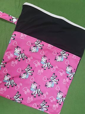 Wetbag For Cloth Diapers - Double Zip  (Zebra)