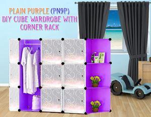 Plain Purple 9Cube Diy Wardrobe With Corner Rack (PN9PC)