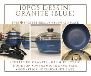 10PCS DESSINI DIE CAST SET (GRANITE) BLUE FREE 🎁 6PCS SET SENDUK NYLON ALL BLACK