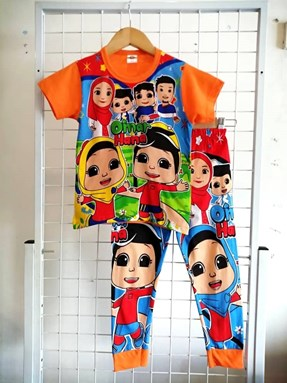 Pyjamas OMAR HANA KAWAN KAWAN Orange (Brand HRZ) : Kids Size 2/3 hingga 8/9