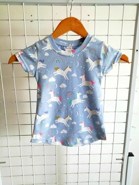 T-Shirt Short Sleeve Unicorn Light Blue: Size 1y-6y (1 - 6 tahun) QK