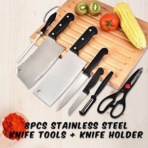 8pcs STAINLESS STEEL KNIFE TOOLS + KNIFE HOLDER
