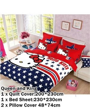 CARTOON BED SHEET HELLO KITTY 11 DESIGN (FITTED) King Size Bed (8 inch height) N00357 READY STOCK