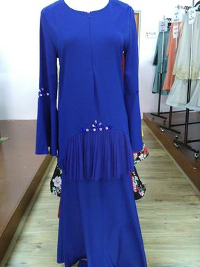 Kurung Tamara Pleated Royal Blue
