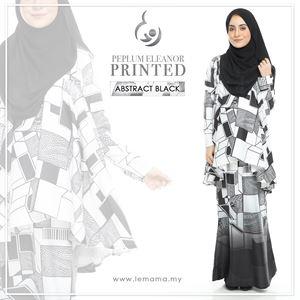 Peplum Eleanor Printed : Abstract Black