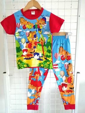 Pyjamas GARFIELD Red (Brand HRZ) : Kids Size 2/3 hingga 8/9