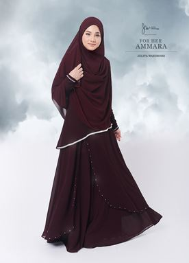 Jubah Ammara For Her (Dark Maroon)