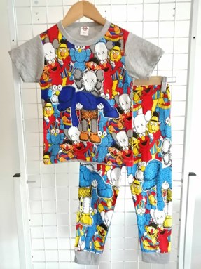 Pyjamas KAWS SESAME STREET Grey (Brand HRZ) : Kids Size 2/3 hingga 8/9