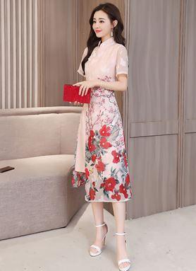 Retro Cheongsam Ancient Printing Dress