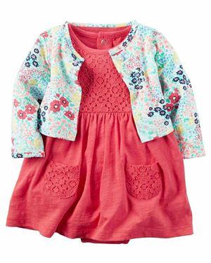 Baby Romper & Cardigan Set Peach Flower