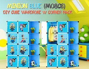 Minion Blue DIY 8Cube Wardrobe with Corner Rack (MO8CB)