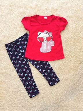 [SIZE 2Y] Girl Set Cat Sequeen with Rainbow Pant
