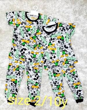 Pyjamas MICKEY GREEN WHITE : KIDS size 2 only
