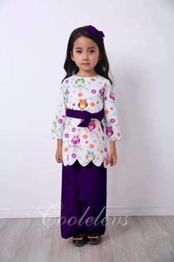 BABY OWL BAJU KURUNG + HAIRBAND SET C - DARK PURPLE  ( SZ 1Y-8Y )