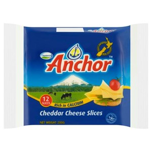 ANCHOR CHEDDAR CHEESE SLICES / 12 SLICES (200G)