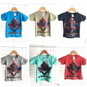 T-Shirt Boy Short Sleeve Spiderman: Size 2-8 (1 - 6 tahun)