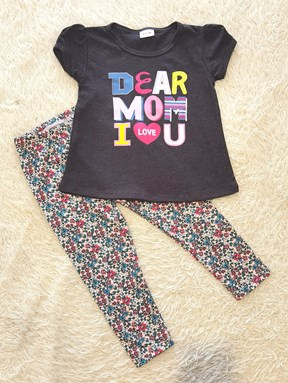 [SIZE 2Y , 3Y] Girl Set GREY DEAR MOM WITH LITTLE FLORAL PANT