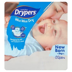 Drypers Wee Wee Dry Disposable Diapers New Born <5kg 64pcs