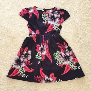 [ 12M & 2Y , 6Y] Baby and Kids Dress PURPLE HIBISCUS BLACK Brand KF