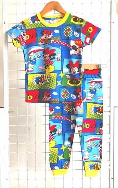 SIZE 12 - 14 BIG KIDS Pyjamas MICKEY MINNIE PICNIC BLUE  (GL)
